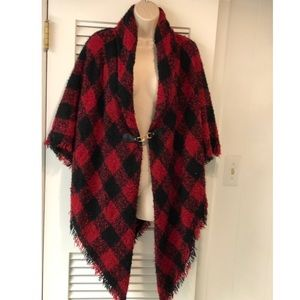 Sweaters - Black & Red Cape Sweater